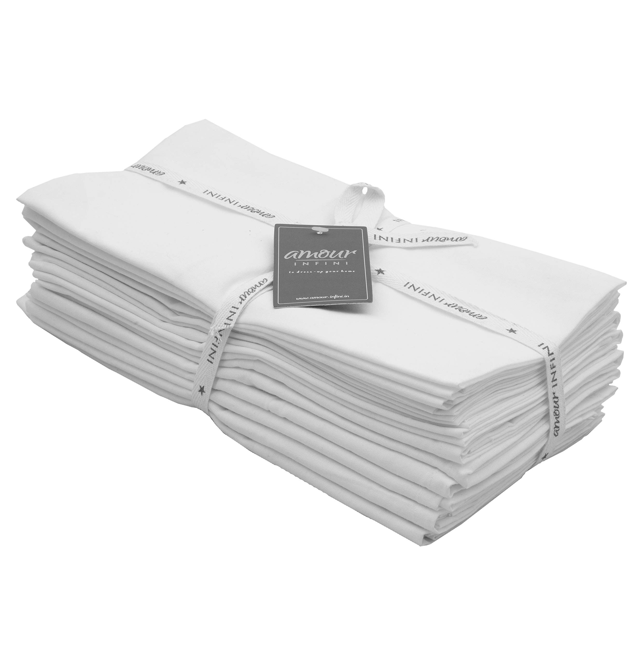 Amour Infini Flour Sack Towels White  12 Pack   28 x 28 Inch   Multi-use Kitchen Towels, Dish Towels, Cloth Napkins  100% Ring Spun Cotton   Highly Absorbent  Tea towels for embroidery