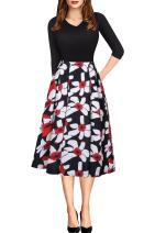 Fit and Flare Casual Work Swing Floral Patchwork Midi Dress for Women Black Plus Size 3XXL