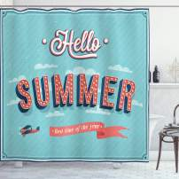 """Ambesonne Hello Shower Curtain, Vintage Style Summer Inspired Words Print on Blue Background with Aircraft and Clouds, Cloth Fabric Bathroom Decor Set with Hooks, 75"""" Long, Blue Coral"""