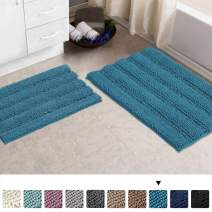 "Turquoize Chenille Bath Rugs Teal Bathroom Rugs Sets 2 Piece Shaggy Rugs for Bedroom Rugs Soft Plush Anti-Slip Shower Rug Super Absorbent Machine Washable Bath Mats 20""x32""/17""x24"", Turquise Blue"