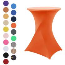 Obstal Orange Cocktail Table Covers Stretch Spandex Cocktail Table Cover Cloth for Wedding (30x42 Inch, 1 Piece)