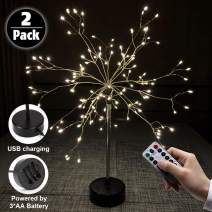 LAMHO 2 Pack Firework Table Lights, 120 LED Battery Operated Starburst Table Light, 8 Modes Dimmable with Remote Control Waterproof Copper Wire Lights for Home, Decoration, Christmas