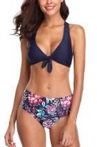 Vegatos Women Front Tie Bikini Swimsuit Two Piece Padded Swimwear Bathing Suits