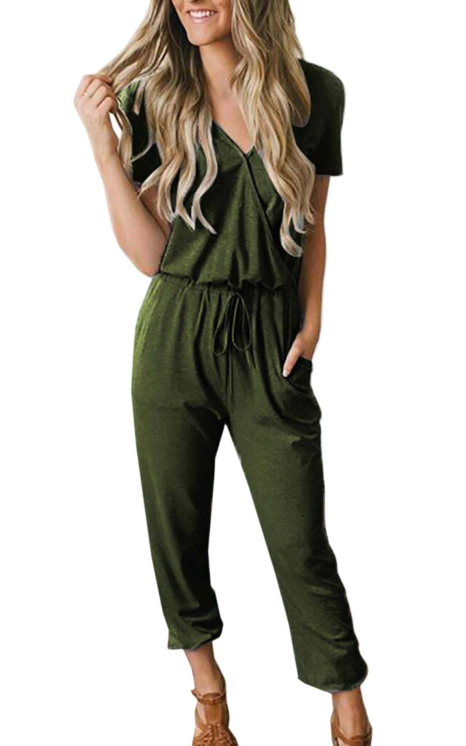 ECOWISH Women Jumpsuit Summer Casual V Neck Short Sleeve Wrap Drawstring Waist Jumpsuits Romper with Pockets