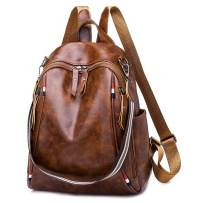 Qyoubi Women's Soft Leather Fashion Backpack Purse Casual Travel College Student Anti-theft School Shopping Convertible Bag