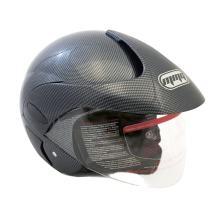 MMG Motorcycle Powersports Open Face Helmet DOT Street Legal - FlipUp Clear Shield - Carbon Fiber (Size: Large)