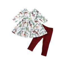 Toddler Little Girls Ruffle Flare Tunic Dress Top Red Leggings Pants Spring Winter Deer Outfit Set Clothes