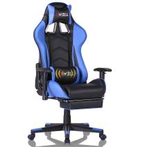 EDWELL Home Office Desk Chair Gaming Chair with Footrest,High Back Computer Gaming Chair, Racing Style Ergonomic Chair PU Leather Desk Chair with Headrest and Massage Lumbar Support,Blue