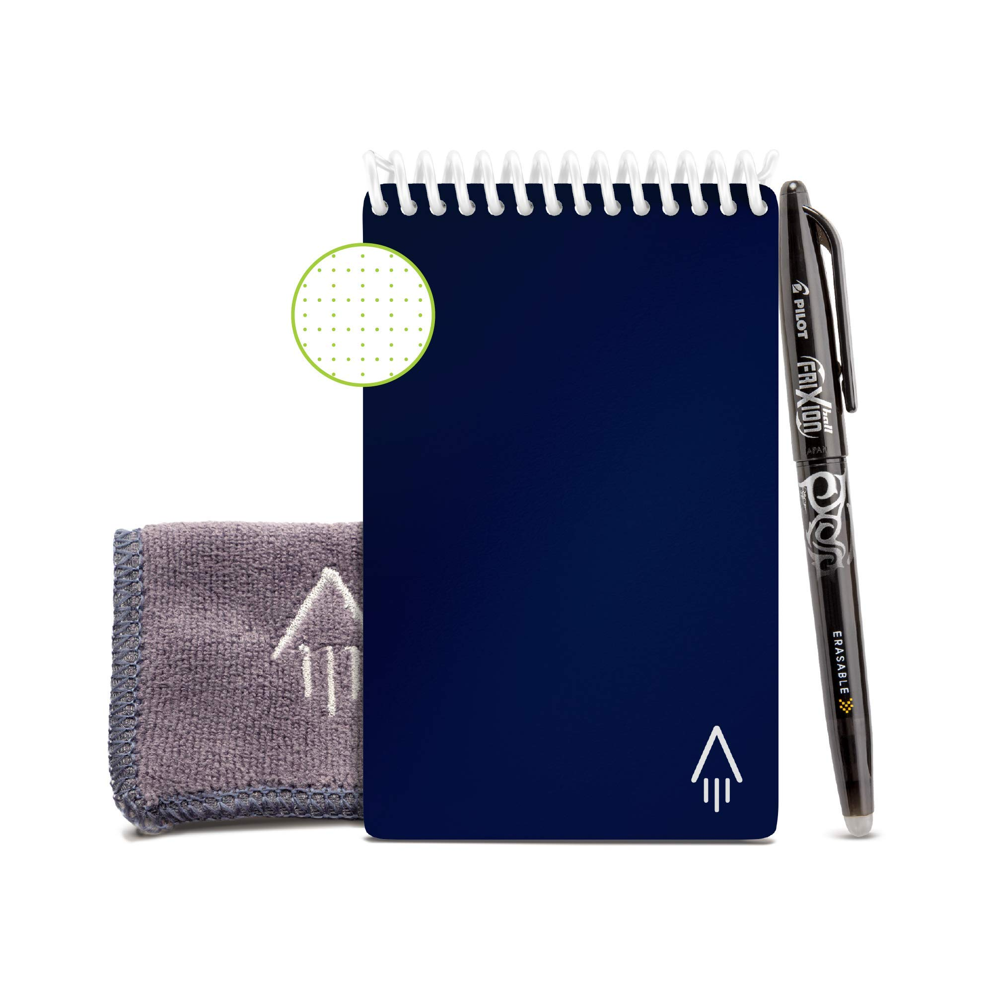 """Rocketbook Smart Reusable Notebook - Dotted Grid Eco-Friendly Notebook with 1 Pilot Frixion Pen & 1 Microfiber Cloth Included - Midnight Blue Cover, Mini Size (3.5"""" x 5.5"""")"""