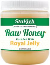 Stakich Royal Jelly Enriched Raw Honey - Pure, Unprocessed, Unheated - 5 Pound (80 Ounce)