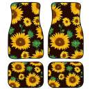 INSTANTARTS Women's Lady Sunflower Print Fashion Vehicle Mat Car Interrier Decor Universal Car Floor Mats Fit for SUV Sedan (Black)