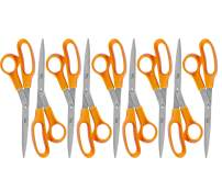 WA Portman Multipurpose Scissors for Fabric Sewing Office Kitchen and School - 8 Inch - 9 Orange Right and Left Hand Heavy Duty Bulk Scissors Pack for Classrooms Teachers Students and Office
