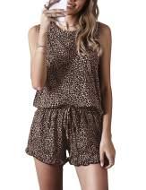 Yeokou Womens Tie Dye Tank Top Ruffle Shorts Jersey 2 Piece Pajama Pj Set Sleepwear