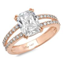 Clara Pucci 4.25 CT Cushion Brilliant Cut CZ Solitaire Designer Ring Band 14K Rose Gold