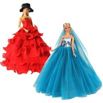 BARWA 2 Pcs Doll Dress Red Gown Dress with Hat and Blue Wedding Dress with Veil Evening Party Clothes for 11.5 Inch Girl Doll (Blue + Red)