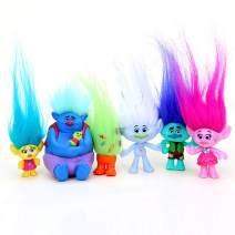 Vndaxau Poppy Trolls Doll with Hair Set of 6,Trolls Toys Party Supplies,Kids Action Figures Include Branch and Poppy,Guy Diamond, Biggie, Smidge, Fuzzbert