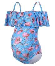 DINIGOFIN Women One Piece Maternity Swimsuits Plus Size Maternity Swimwear Ruffle Off Shoulder Pregnancy Bathing Suit