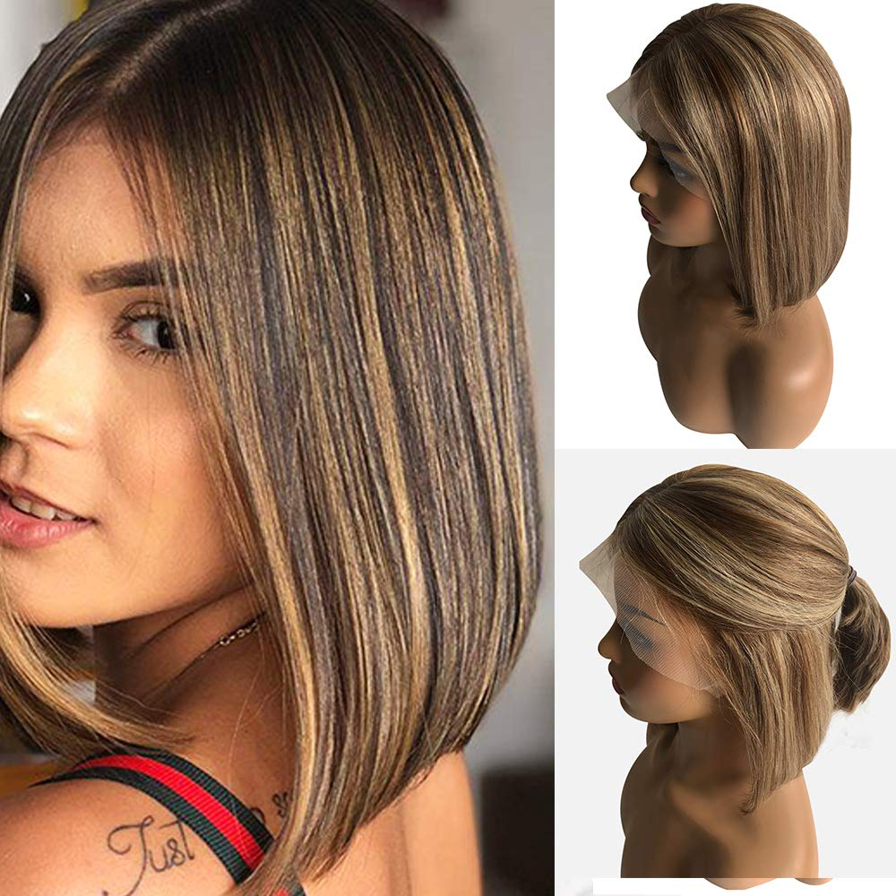 """Ombre Lace Front Wig 14"""" Straight Bob Wig Bleached Knots with Baby Hair 150% Density Glueless Brazilian Human Hair Pre Plucked #4 Fading to #27 Blonde Layered Balayage for White Women"""