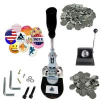 Button Maker Badge Making Machine 37MM (1½ INCH) | Heavy Duty Circle Cutter Punch Press Machine | 500 Circle Button 37MM (1½ INCH) Parts - Metal Badge Button Shell & Pin Back | All-in-One Complete DIY