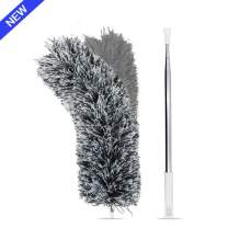 Microfiber Duster with Extension Pole(Stainless Steel), Extra Long 100 inches, with Bendable Head, Hand Duster for Cleaning High Ceiling Fan, Interior Roof, Cobweb, Gap Dust- Wet or Dry Use