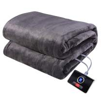 """Westinghouse Electric Blanket Twin Size 62""""x84"""" Heated Throw Soft Silky Microplush Flannel Heating Blanket, 10 Heat Settings & 12 Hours Auto Off, Machine Washable, Charcoal Grey"""