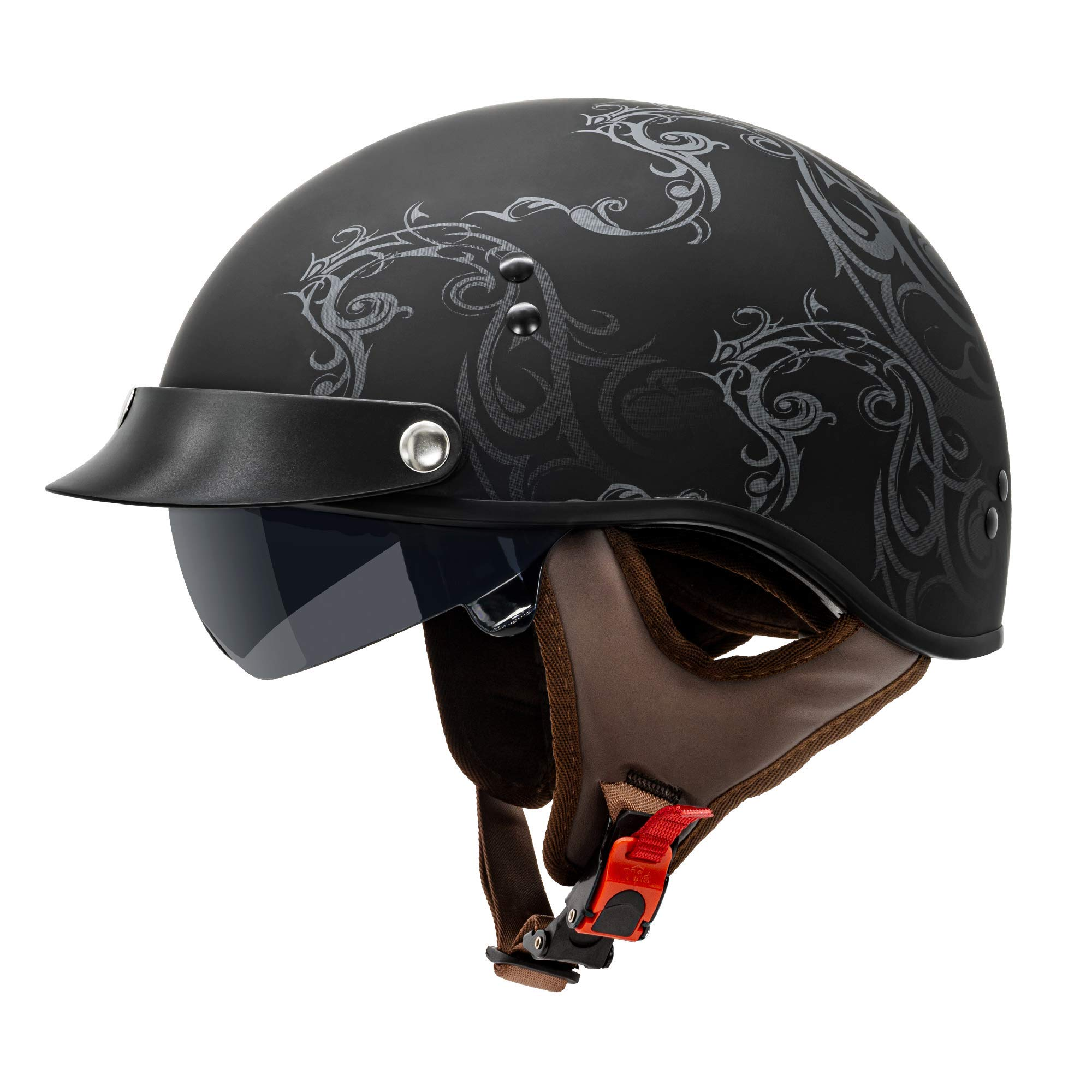 VCAN Cruiser Solid Flat Black Half Face Motorcycle Helmet with Drop-Down Sun Visor, Removable Peak and Quick Release Buckle (Scramble Line, Large)