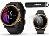 Garmin Venu (Black/Gold) Power Bundle | +HD Screen Protectors (x4) & PlayBetter Portable Charger | AMOLED Display, Spotify | Fitness GPS Smartwatch