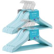 SONGMICS 20-Pack Solid Wood Children's Hangers, Robust Kid's Clothes Hangers, with Trousers Bar, Shoulder Notches, 360 Degree Swivel Hooks, 12.6 x 0.5 x 7.5 Inches, Aqua UCRW06BU