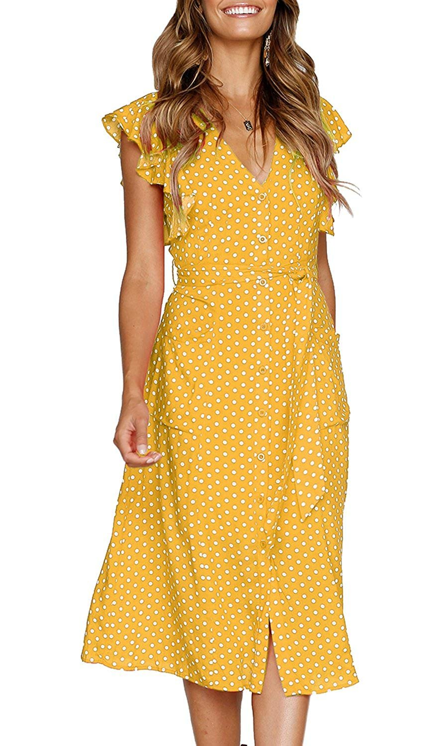 OURS Women Summer Polka Dots V Neck Sleeveless Button Down Midi Dresses with Pockets