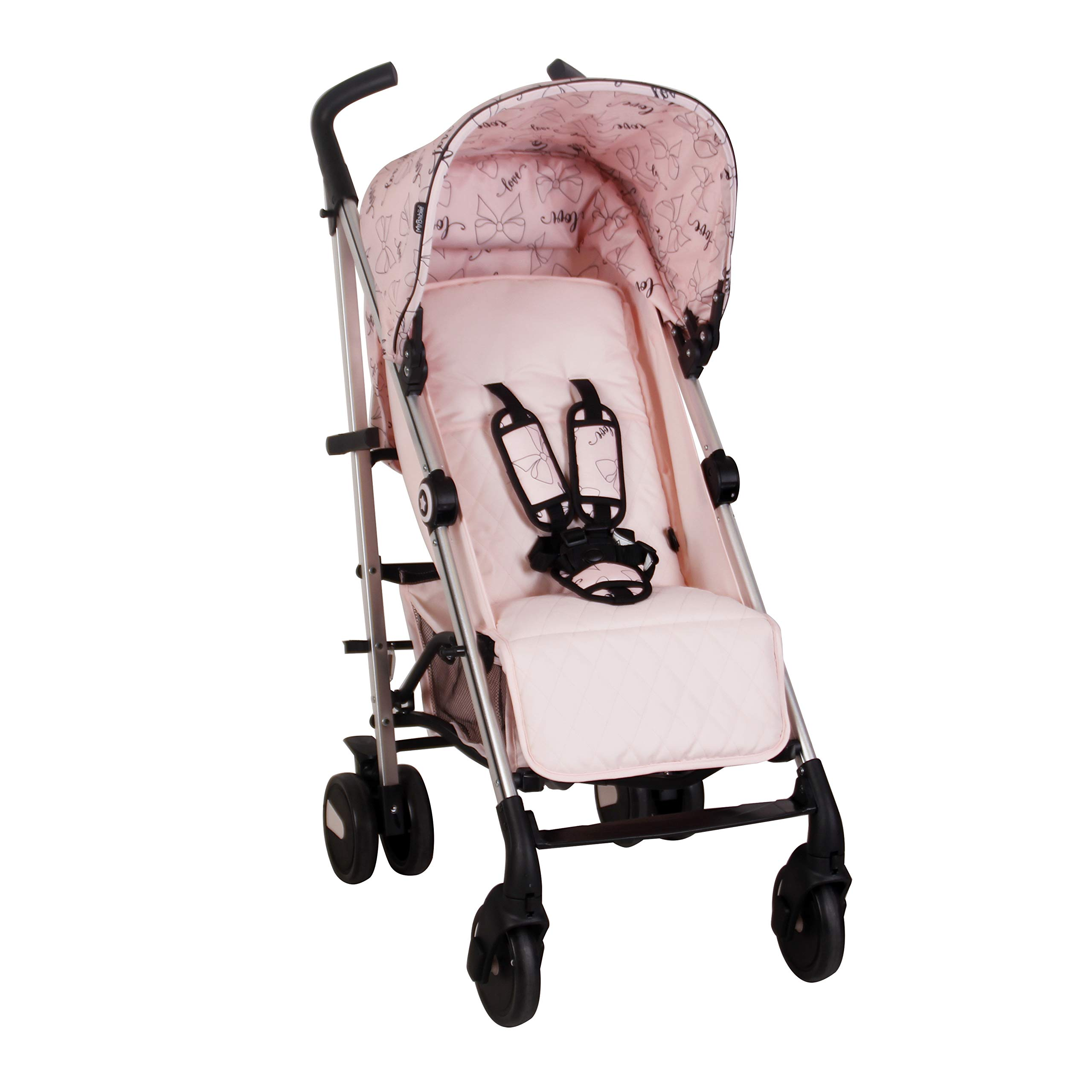 My Babiie US51 Catwalk Pink Bows Baby Stroller – Lightweight Baby Stroller with Carry Handle – Silver Frame and Pink Canopy with Bows – Lightweight Travel Stroller – Suitable from Birth – 33lbs