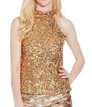 swrose Women's Shimmer Flashy All Sequins Embellished Sparkle Vest Tank Tops