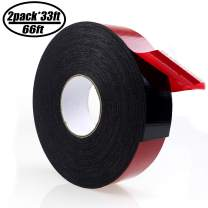 PE Foam Double-Sided Adhesive Tape -Outdoor and Indoor Super Strong Foam Seal Strip for Automotive Mounting,Weatherproof Decorative and Trim,Car Trim Strip,Photo Frame (Wide 2 in Long 66 Ft)