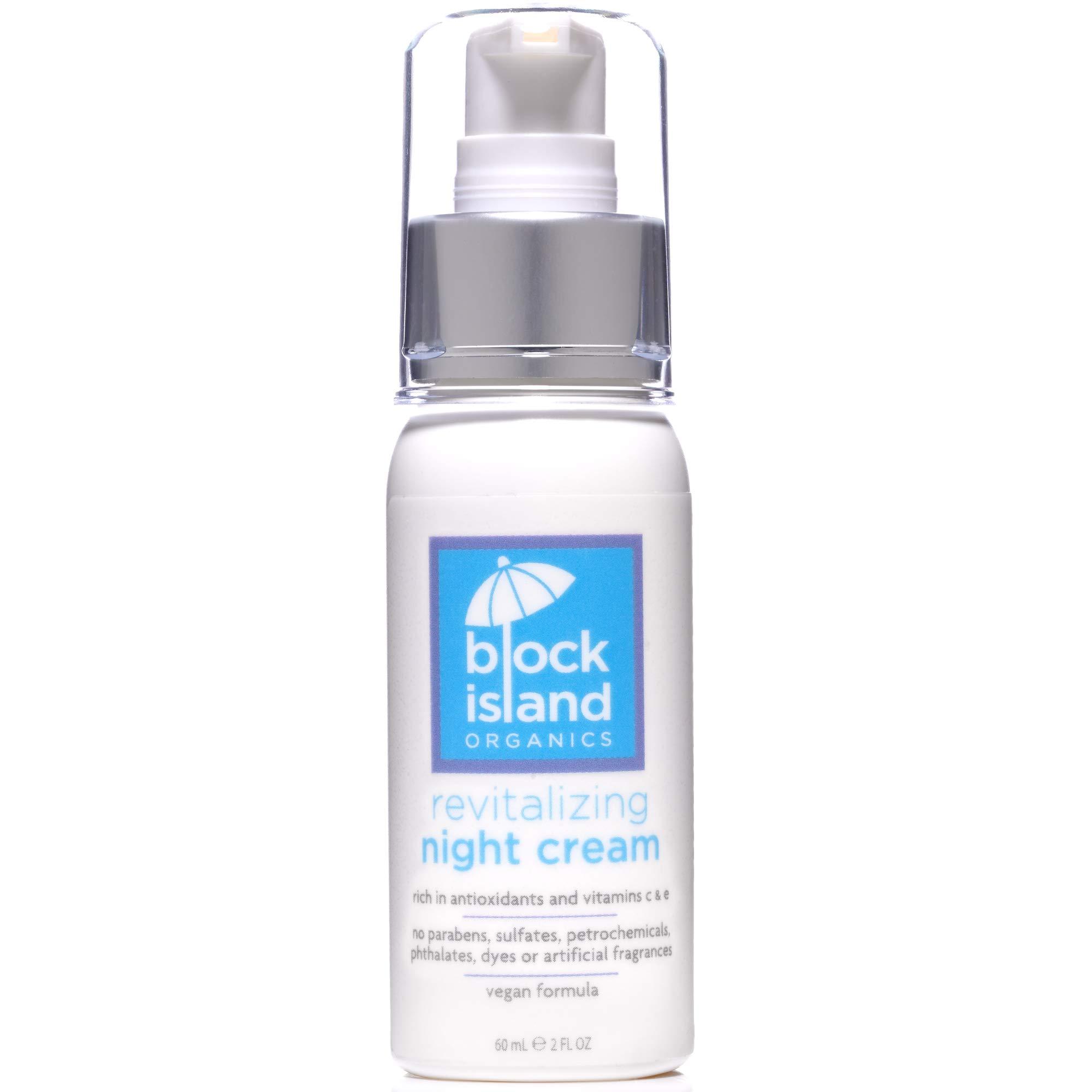 Block Island Organics Revitalizing Night Cream - Organic Anti-Aging Face Moisturizer with Natural Anti-Oxidants Vitamin C & E – EWG Top Rated - Sensitive Skin Care for Face, Eyes, and Neck - 2 OZ