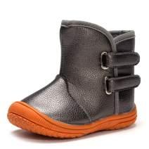 Enteer Baby Soft Rubber Sole Anti-Slip Warm Winter Prewalker Leather Toddler Boots