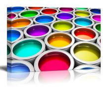 """Abstract Creativity Concept Group of Tin Metal Cans with Color Paint Dye - Canvas Art Wall Decor - 12"""" x 18"""""""
