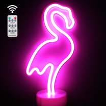 XIYUNTE Flamingo Lights LED Neon Signs with Remote Control, Pink Flamingo Neon Light with Holder Base, Battery Powered Night Lights Light up Children's Room, Widding, Party, Christmas
