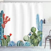"""Ambesonne Cactus Shower Curtain, Cactus Spikes Flowers with Birds Cartoon Style Vintage Like Colored Artwork, Cloth Fabric Bathroom Decor Set with Hooks, 75"""" Long, Blue Green"""