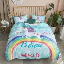 Argstar 2 Pcs 3D White Unicorn Duvet Cover Set King, Cute Rainbow and Miracle Pattern Bedding Set, Lightweight Microfiber Comforter Cover for Girls Kids, 1 Duvet Cover and 2 Pillowcovers