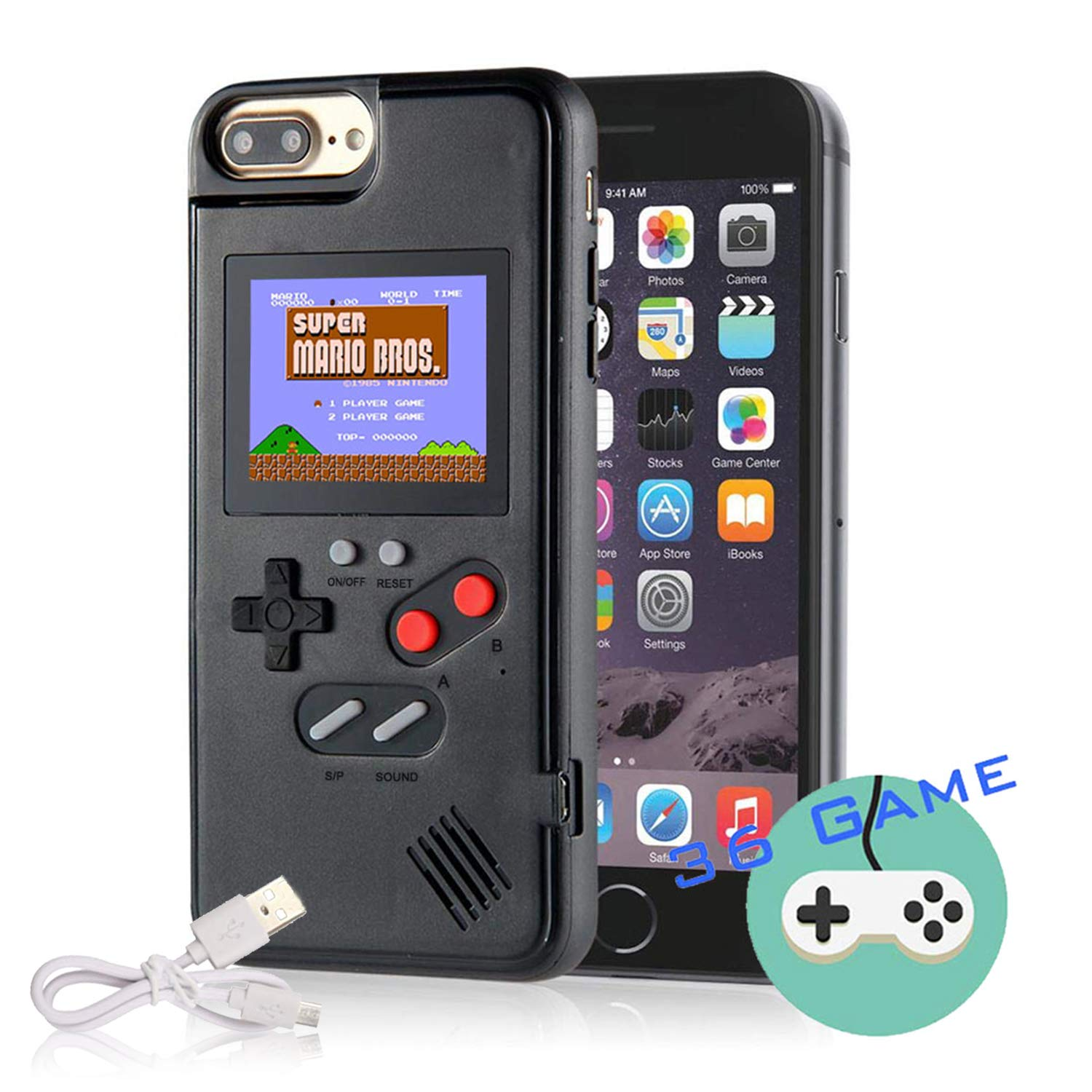 Autbye Gameboy Case for iPhone, Retro 3D Phone Case Game Console with 36 Classic Game, Color Display Shockproof Video Game Phone Case for iPhone 11 Pro (Black)