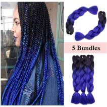 "Ombre Jumbo Braiding Hair Black to Dark Blue 5 Bundles Crochet Twist Hair Extensions 24 inch Two-Tone Long Box Braids Heat Resistance Synthetic Hair for Women DIY Fun(24"",Black-Dark Blue,5 Bundles)"