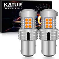 KATUR 1157 BAY15D P21/5W 1034 7528 LED Bulbs Super Bright 12pcs 3030 & 8pcs 3020 Chips Canbus Error Free Replace for Turn Signal Reverse Brake Tail Stop Parking RV Lights,Amber Yellow(Pack of 2)