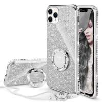 Cute iPhone 11 Pro Case, Glitter Luxury Bling Diamond Rhinestone Bumper with Ring Grip Kickstand Protective Thin Girly Pink iPhone 11 Pro Case for Women Girl [5.8 inch] 2019 - Silver