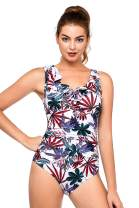 PERONA Women's One Piece Swimsuits Tummy Control Bathing Suits Ruffled Plus Size Swimwear
