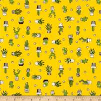 Telio Playtime Cotton Poplin Cactus Mustard Fabric Fabric by the Yard