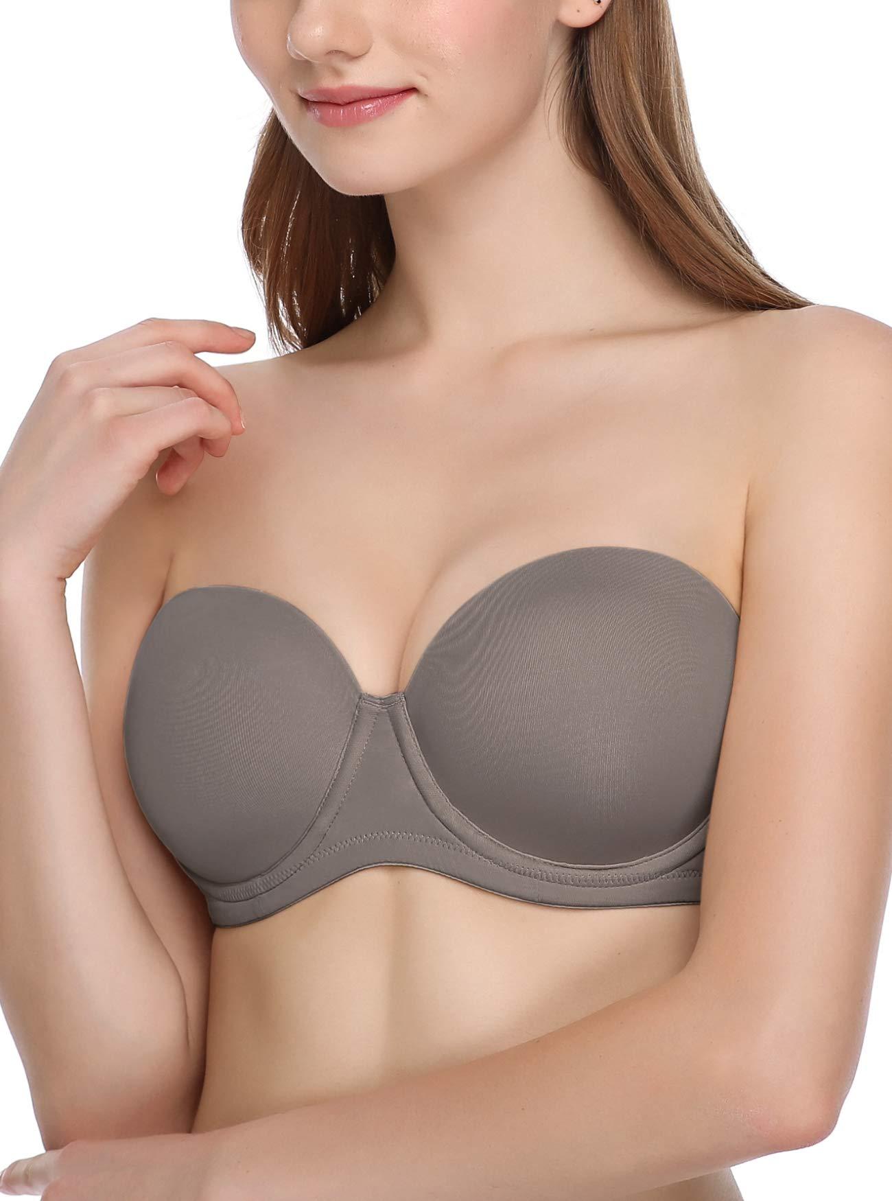 JOATEAY Women's Strapless Bra Full Figure Multiway Red Carpet Underwrie Bra Stay Put Plus Size