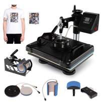 "BAHOM 5 in 1 Swing Away Heat Press Machine 12"" X 15"", Multifunctional Digital Sublimation Print Machine for T-shirt Hat Cap Mug Plate"