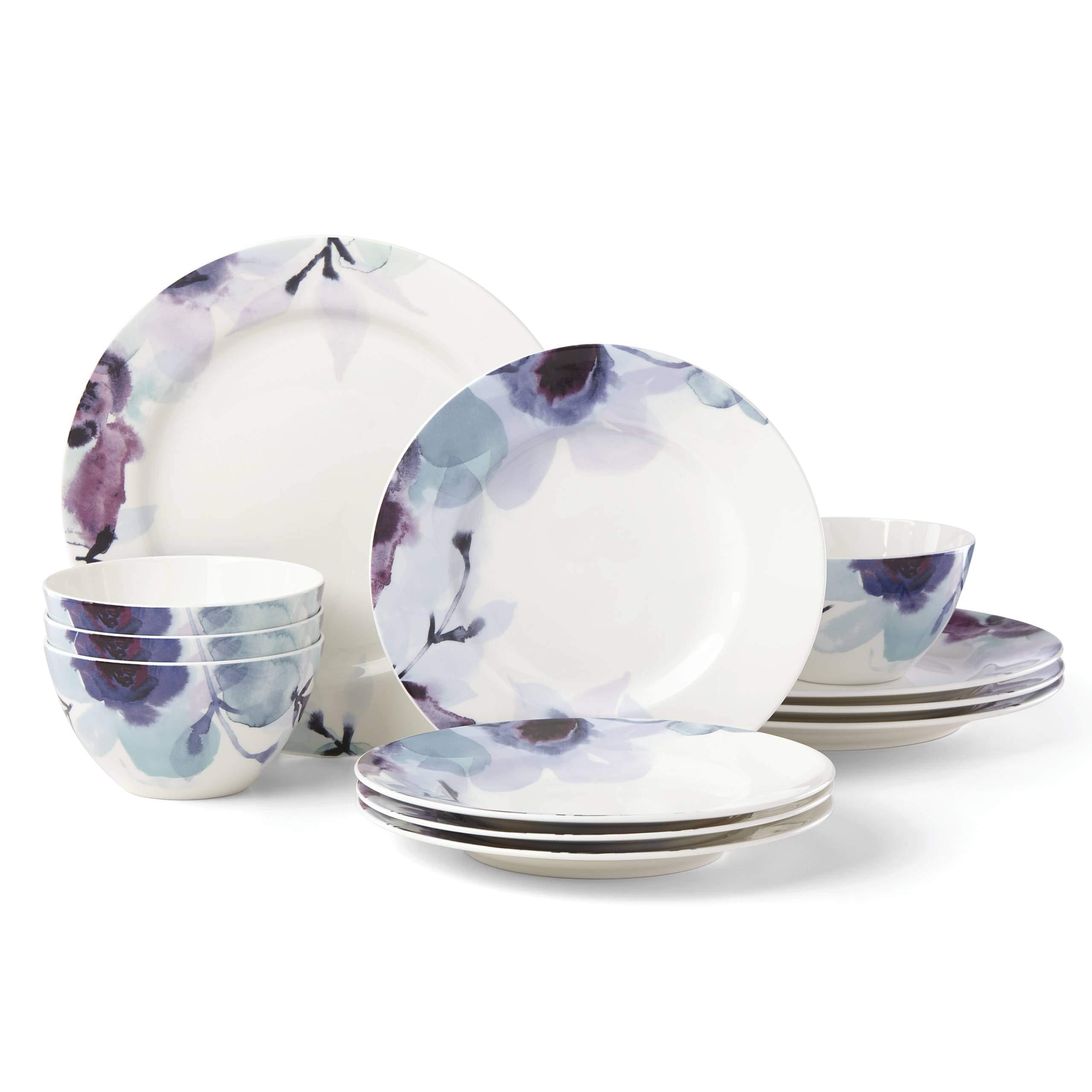 LENOX 885148 Indigo Watercolor Floral 12-Piece Dinnerware Set, 18.45 LB, Blue