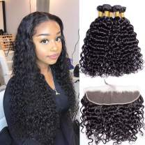 Brazilian Water Wave 13x4 Lace Frontal Human Hair Closure with Bundles for Black Women 150% Density Free Part Lace Frontal Pre Plucked with Baby Hair Natural Black Color Curly Hair Bundles