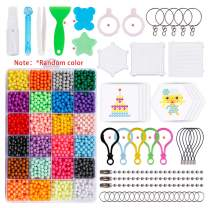 Hakkin Fuse Beads Kit- 24 Colors Magic Water Fuse Sticky Spray Bead with 3200 Beads Art Crafts Toys and Accessories Set for Kids Beginners Complete Set- Great Christmas Gift