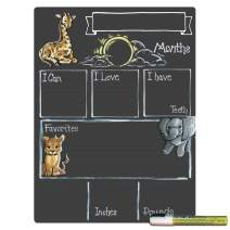 Cohas Monthly Milestone Board for Baby with Safari Theme, Reusable Chalkboard Style Surface, and Liquid Chalk Marker, 12 by 16 Inches, White Marker